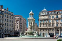 Jacobins square and beautiful fountain in Lyon city, France