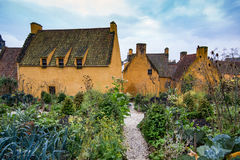 The jacobite garden behind Culross Palace in Culross, Scotland colorful village during autumn time. View from the garden. Royalty Free Stock Photo