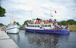 Jacobite Queen carrying tourists. The Jacobite Queen with passengers on its way from Loch Ness entering Dochgarroch lock Stock Photography