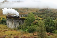 The Jacobite - Steam Train in Glenfinnan - Scotland Royalty Free Stock Photos