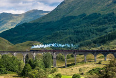 The Jacobite train over Glenfinnan viaduct Royalty Free Stock Photo