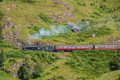 The Jacobite train over Glenfinnan viaduct Royalty Free Stock Photography
