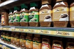 Jacobs coffee on supermarket shelves Royalty Free Stock Image