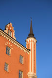 Jacobs Red Church Stockholm. Red on blue sky Stock Image
