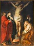 Антверпен - краска распятия большим барочным мастерским Jacon Jordaens в церков St. Pauls (Paulskerk) стоковые изображения rf