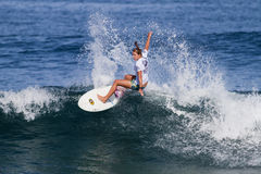 Jacqueline Silva Surfing in the Hawaiian Pro royalty free stock images