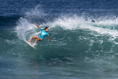 Jacqueline Silva Surfing in the Hawaiian Pro Royalty Free Stock Photo