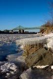 Jacques Cartier bridge. Winter scene of the Jacques Cartier bridge Stock Photo