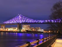 Jacques Cartier Bridge illuminated at night royalty free stock photography