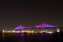 Jacques Cartier Bridge Illumination in Montreal. Montreal's 375th anniversary. luminous colorful interactive Royalty Free Stock Images