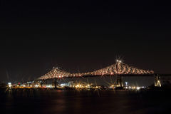 Jacques Cartier Bridge Illumination in Montreal. Montreal's 375th anniversary. luminous colorful interactive Stock Image