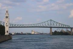 Jacques cartier bridge montreal clock tower stock image