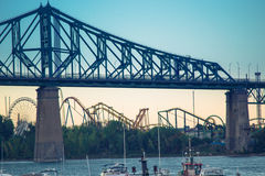 Jacques Cartier Bridge of Montreal Quebec Canada. With Beautiful Sky Royalty Free Stock Photography