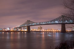 Jacques Cartier bridge at night, in Montreal. Long exposure night scene of the Jacques Cartier bridge in Montreal, Quebec, Canada, from the Saint Lawrence river Stock Image