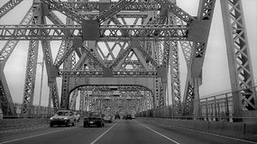 On the Jacques Cartier Bridge road stock photos
