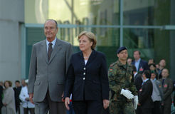 Jacques Chirac, Angela Merkel Stock Photo