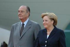 Jacques Chirac, Angela Merkel Stock Images