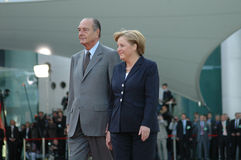 Jacques Chirac, Angela Merkel Stock Image