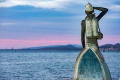 Jacques Cousetau copper statue in mallejon la Paz Baja California Sur Stock Photography