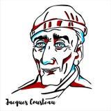 Jacques Cousteau Portrait illustration de vecteur