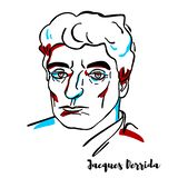 Jacques Derrida Portrait stock illustration