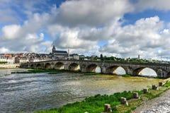 Jacques-Gabriel Bridge - Blois, Frankreich Lizenzfreie Stockbilder