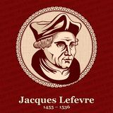 Jacques Lefevre d`Etaples 1455 – 1536 was a French theologian and humanist. He was a precursor of the Protestant movement. In France stock illustration