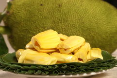 Jact fruit. Jack fruit on banana plate Royalty Free Stock Photo