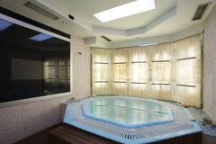 Jacuzzi. Interior of a hotel jacuzzi, modern and simple style royalty free stock photo