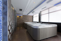 Jacuzzi baths in hotel spa center.  Stock Photo