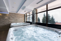 Jacuzzi baths in hotel spa center.  Royalty Free Stock Photo
