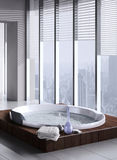 Jacuzzi with floor to ceiling windows. A 3d rendering of jacuzzi with floor to ceiling windows Royalty Free Stock Photo