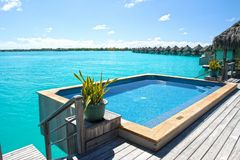 Jacuzzi Hot Tub Plunge Pool. On Luxury Water Villa Bungalow royalty free stock photo