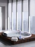 Jacuzzi met vloer aan plafondvensters Royalty-vrije Stock Foto