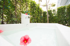 Jacuzzi tub outside the room in hotel Royalty Free Stock Photo