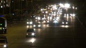Jadący przy nocą, drogi, ulicy, ciemność zbiory