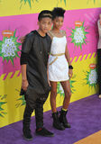 Jada Pinkett Smith Jada Pinkett-Smith, Jaden Smith, Will Smith, Willow Smith Arkivbild
