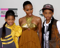 Jada Pinkett Smith, Jada Pinkett-Smith, Jaden Smith, Willow Smith Stock Images