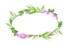 Jadalny projekt dla eco cookery biznesu Karciany projekt Warzywa i ziele obramiają szablon Purpury pokrajać cebuli, koper, pietru ilustracji