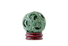 Jade Ball Puzzle. Oriental jade ball puzzle decor for feng shui and good luck; white background Royalty Free Stock Photo