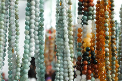 Jade beads. Emerald necklace made of beads Royalty Free Stock Photos