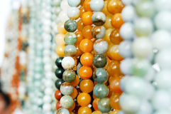 Jade beads. Emerald necklace made of beads Stock Photography