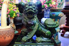 Jade Chinese guardian lions Royalty Free Stock Images