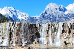 The Jade Dragon Snow Mountain. Lake of the Jade Dragon Snow Mountain, blue sky, blue clean water, tree, forest, rock, waterfall stock images