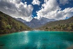 Jade Dragon Snow Mountain. Emerald lake in Lijiang, Yunnan province, China Stock Photography