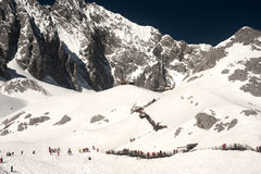 Jade Dragon snow mountain in Lijiang at China. Stock Images
