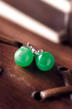 Jade Earrings Fotografie Stock Libere da Diritti