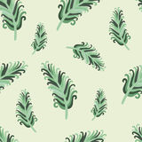 Jade feather. Vector seamless pattern with funky jade feathers Royalty Free Stock Photo