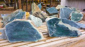 Jade in its natural state. Chunks of semi-precious stone mined in northern british columbia Royalty Free Stock Photos