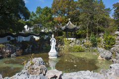 Wuxi yixing yu-tam park jade statue. The jade lake is located in lianzi hill, southwest of yixing city. The scenic spots are mainly `yuyang dongtian` and `yutan Stock Photos
